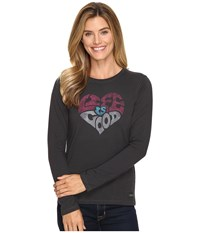 Life Is Good Heart Long Sleeve Crusher Tee Night Black Women's T Shirt