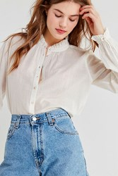 Urban Outfitters Uo Madelyn Ruffle Collar Button Down Top White