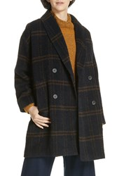 Eileen Fisher Double Breasted Plaid Alpaca Blend Coat Midnt