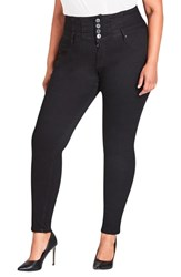 City Chic Plus Size Harley Corset Waist Stretch Skinny Jeans Black