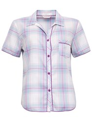Cyberjammies Elsie Check Short Sleeve Top Blue Purple