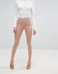 Asos Rivington High Waist Denim Jeggings In Washed Pink Pink