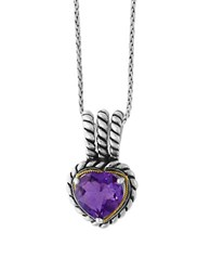 Effy 925 Amethyst 18K Yellow Gold And Sterling Silver Heart Pendant Necklace Purple