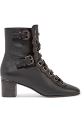 Chloe Orson Lace Up Textured Leather Ankle Boots Black
