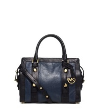 Michael Kors Collins Stud Medium Two Tone Leather Satchel Navy Black