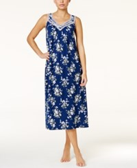 Charter Club Lace Trimmed Printed Long Nightgown Only At Macy's Navy Posies