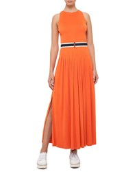 Akris Punto Belted Sleeveless Maxi Dress Coral