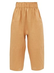 Loup Charmant Homer Paperbag Waist Cropped Linen Trousers Light Brown