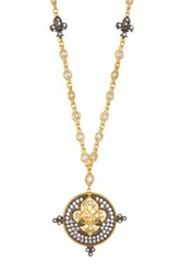 Freida Rothman 14K Gold Plated Sterling Silver Cz Radiance Fleur De Lis Pendant Necklace Metallic