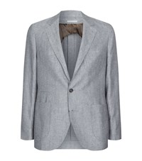 Brunello Cucinelli Herringbone Blazer Male Grey