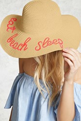 Forever 21 Beach Sleep Graphic Straw Hat Beige Pink