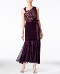 R And M Richards Petite Lace Pleated Mermaid Gown Plum