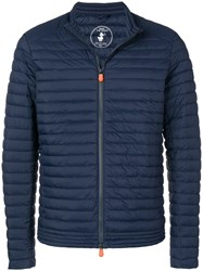 Save The Duck Zipped Padded Jacket Blue