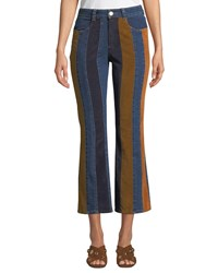 See By Chloe Striped High Rise Flare Leg Jeans Multi Pattern