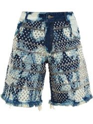 Ashish Studded Denim Shorts Blue