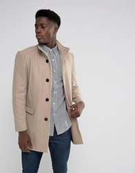 Selected Homme Funnel Neck Wool Mix Overcoat Sand Beige
