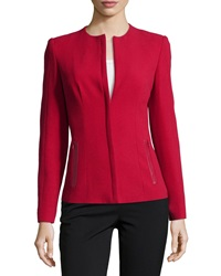 Lafayette 148 New York Long Sleeve Jacket W Leather Trim Snapdragon