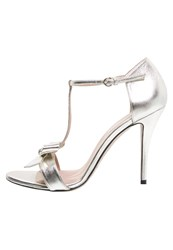 Pura Lopez High Heeled Sandals Metal Argento Silver