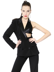 Jean Paul Gaultier Asymmetrical Wool And Satin Jacket Black