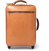 Brunello Cucinelli Grained Leather Wheeled Trolley Case Camel