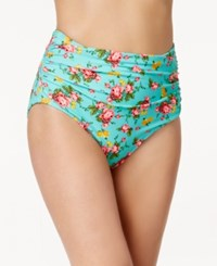 Betsey Johnson High Waist Ruched Floral Swim Bottom Women's Swimsuit