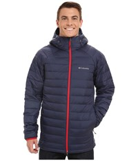 Columbia Platinum Plus 860 Turbodown Hooded Jacket Noctornal Bright Red Men's Coat Blue