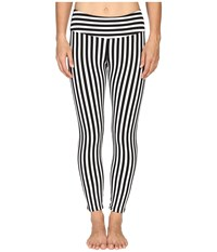 Hard Tail Flat Waist Capri Leggings Black White Supplex Stripe Women's Workout