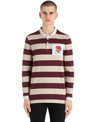 Kent And Curwen Rose Patch Striped Rugby Cotton Polo Mauve