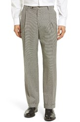 Berle Men's Pleated Houndstooth Wool Trousers
