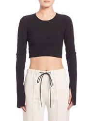 Calvin Klein Bao Long Sleeve Ribbed Knit Crop Top Jet Black