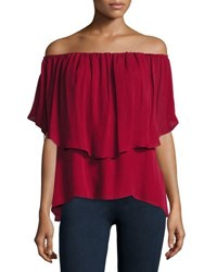 Haute Hippie Off The Shoulder Silk Popover Blouse Crimson