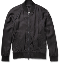 Marc By Marc Jacobs Bruce Washed Satin Bomber Jacket Blue