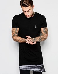 Religion Longline T Shirt With Printed Woven Panel Black