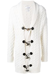 Thom Browne Aran Cable Cashmere Cardigan White