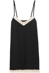 Heidi Klum Intimates Petite Manon Broderie Anglaise Trimmed Stretch Modal Chemise Black