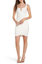 Tiger Mist Ruched Body Con Dress White