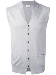 Ballantyne Button Knit Waistcoat Men Cotton Cashmere 48 Grey