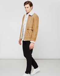 The Idle Man Faux Suede Sherpa Jacket Tan