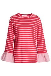 Clu Fluted Striped Cotton Blend Jersey Top Red