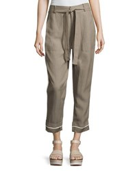 Derek Lam Drawstring Wide Cuff Utility Pants Light Brown