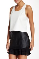 Madison Marcus Faux Leather Mixed Media Tank White