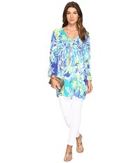 Lilly Pulitzer Lantana Beach Tunic Brilliant Blue Wade And Sea Women's Blouse