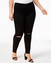 William Rast Trendy Plus Size High Rise Ripped Skinny Jeans Black