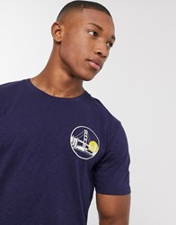 Selected Homme Organic Cotton Graphic Badge T Shirt In Black