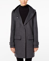 Jones New York Double Faced Hooded Wool Walker Coat Grey