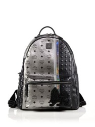 Mcm Munich Lion Coated Canvas Backpack Silver Black