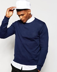United Colors Of Benetton 100 Cotton Crew Neck Knitted Jumper Navy13c