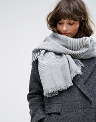 Pieces Gray Scarf With White Stripes Gray