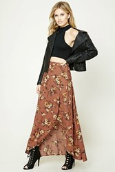 Forever 21 Contemporary Floral Maxi Skirt Rust Mustard