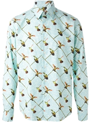 Stella Jean Humming Bird Print Shirt Blue